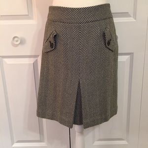 Ann Taylor Loft Herringbone Black and White Skirt
